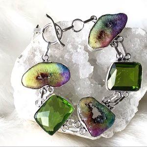 Jewelry - GORGEOUS PERIDOT, RAINBOW SOLAR DRUZY BRACELET